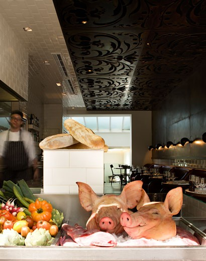 Stock Photo: 1801-30357 Hereford road restaurant pigs heads and interior with ceiling detail., Hereford Road Restaurant, Hereford Road, London, W2 Paddington, United Kingdom, Andy Martin Associates