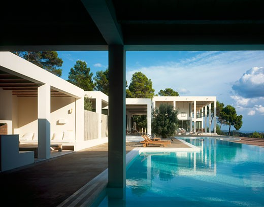 Stock Photo: 1801-30956 Private house view from poolside living room., Private House, Ibiza, Balearic Islands, Spain, De Blacam and Meagher