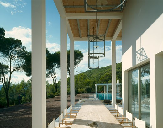 Stock Photo: 1801-30961 Private house colonade with table., Private House, Ibiza, Balearic Islands, Spain, De Blacam and Meagher