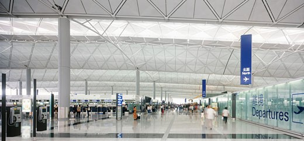 Chek lap kok hong kong international airport departures land side., Chek Lap Kok Hong Kong International Airport, Hong Kong, Hong Kong, Foster and Partners : Stock Photo