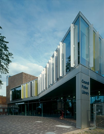 Runnymede CIVIC centre north east elevation from west., Runnymede CIVIC Centre, Station Road, Addlestone, Surrey, United Kingdom, Feilden Clegg Architects : Stock Photo