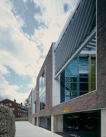 Runnymede CIVIC centre east elevation to car park entrance., Runnymede CIVIC Centre, Station Road, Addlestone, Surrey, United Kingdom, Feilden Clegg Architects : Stock Photo
