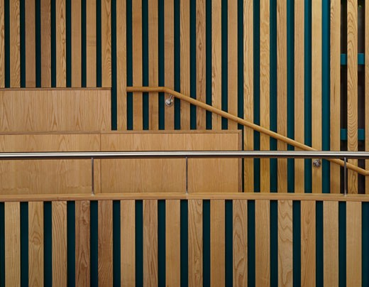 Stock Photo: 1801-31331 Runnymede CIVIC centre timber detail with steel hand in council chamber., Runnymede CIVIC Centre, Station Road, Addlestone, Surrey, United Kingdom, Feilden Clegg Architects