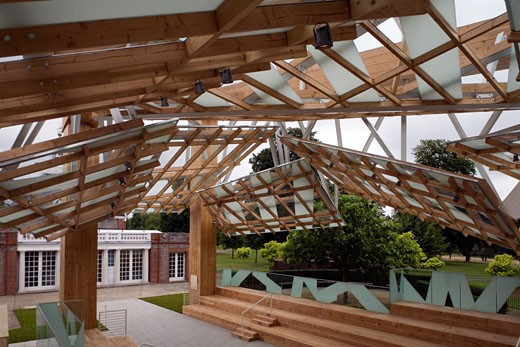 Serpentine gallery pavilion 2008 interior seen from viewing pod., Serpentine Gallery Pavilion 2008, Kensington Gardens, London, W2 Paddington, United Kingdom, Frank Gehry : Stock Photo