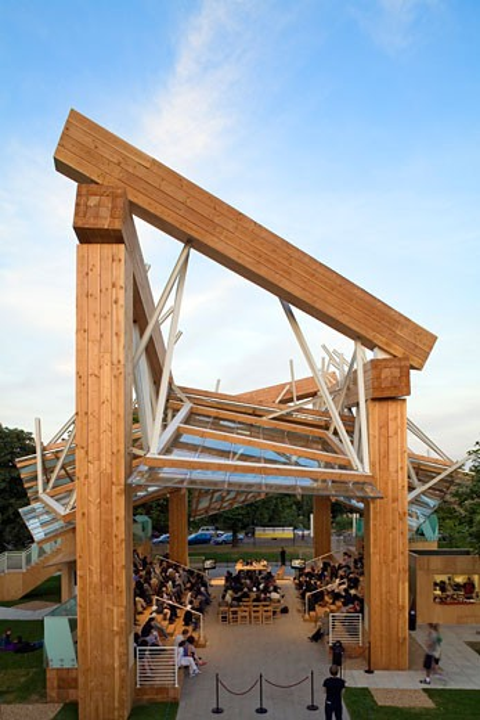 Stock Photo: 1801-31439 Serpentine gallery pavilion 2008 serpentine pavilion above rear, Serpentine Gallery Pavilion 2008, Kensington Gardens, London, W2 Paddington, United Kingdom, Frank Gehry