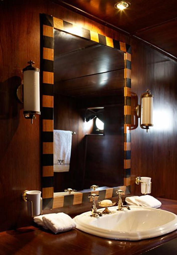 Maid marian 2 bathroom mirror and sink detail., Maid Marian, Phuket, Changwat, Thailand, Flux Interiors : Stock Photo