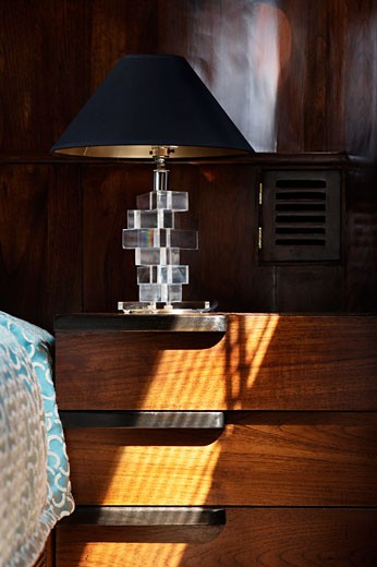 Maid marian 2 detail of side lamp and table., Maid Marian, Phuket, Changwat, Thailand, Flux Interiors : Stock Photo