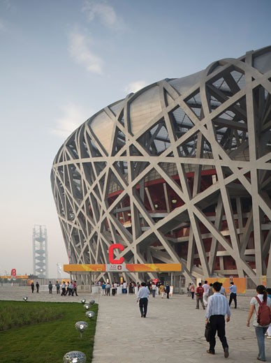 Beijing national stadium birds nest stadium., Beijing National Stadium Birds Nest, Beijing, China, Herzog & De Meuron : Stock Photo