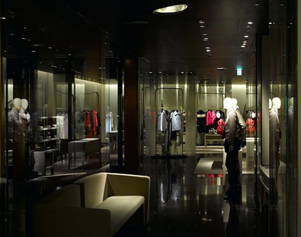 Armani ginza tower menswear on 3RD floor., Armani Ginza Tower, 5-5-4 Ginza Chuo-Ku, Tokyo, Kanto, Japan, Massimiliano Fuksas : Stock Photo