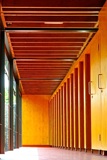 Regent's park open air theatre day timber toilet cubicle doors., Regent's Park Open Air Theatre, Regent's Park, London, NW1 Camden Town, United Kingdom, Prewett Bizley Architects : Stock Photo