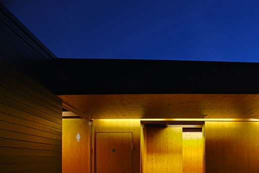 Stock Photo: 1801-32895 Regent's park open air theatre dusk crop view of timber wall and soffit., Regent's Park Open Air Theatre, Regent's Park, London, NW1 Camden Town, United Kingdom, Prewett Bizley Architects