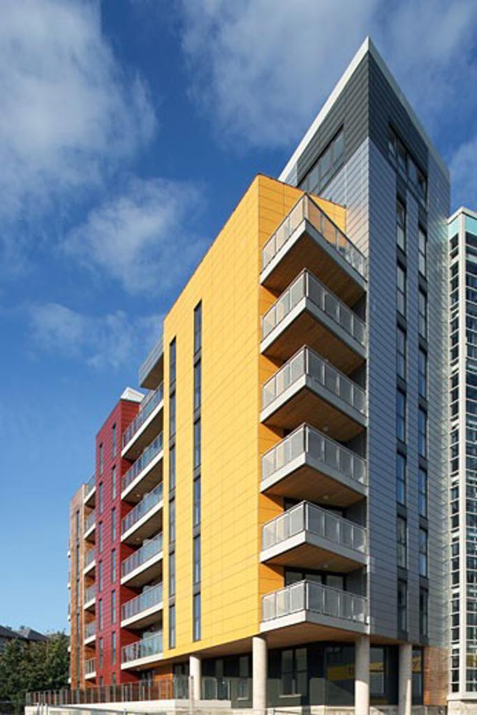 Stock Photo: 1801-33130 Riverside heights block., Riverside Heights, Carrow Bridge, Norwich, Norfolk, United Kingdom, Rhwl Architects