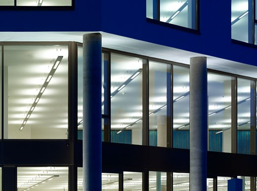 Stock Photo: 1801-33739 Portobello dock - canal building dusk- render windows and office area-cropped., Portobello Dock - Canal Building, Ladbroke Grove, London, W10 North Kensington, United Kingdom, Stiff and Trevillion Architects