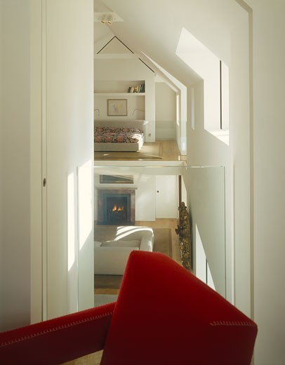 Homestead house guest bedroom to master bedroom., Homestead House, Aylesbury, Buckinghamshire, United Kingdom, Timothy Hatton Architects : Stock Photo