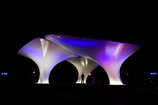Stock Photo: 1801-34281 Lilas pavilion - serpentine gallery exterior at night., Lilas Pavilion - Serpentine Gallery, Kensington Gardens, London, W2 Paddington, United Kingdom, Zaha Hadid