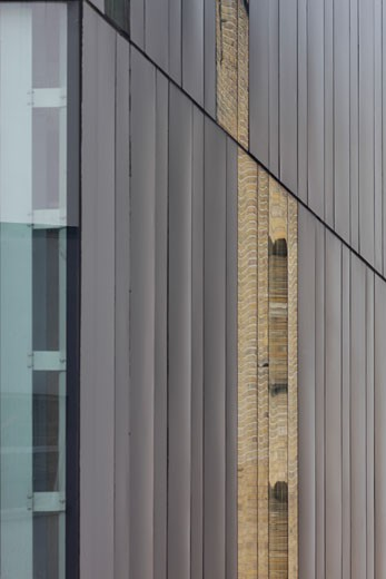 Stock Photo: 1801-34414 Ideas Store, London, United Kingdom, Adjaye Associates, Idea store whitechapel reflections in east facade.
