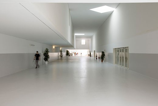 Stock Photo: 1801-3550 PARC ESPORTIU LLOBREGAT, AV. BAIX LLOBREGAT, BARCELONA, SPAIN, ACCESS HALL LOOKING TOWARDS THE ENTRANCE, ALVARO SIZA