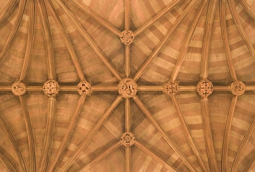 JOHN RYLANDS LIBRARY, 150 DEANSGATE, MANCHESTER, UNITED KINGDOM, CEILING BOSSES, AUSTIN-SMITH: LORD : Stock Photo