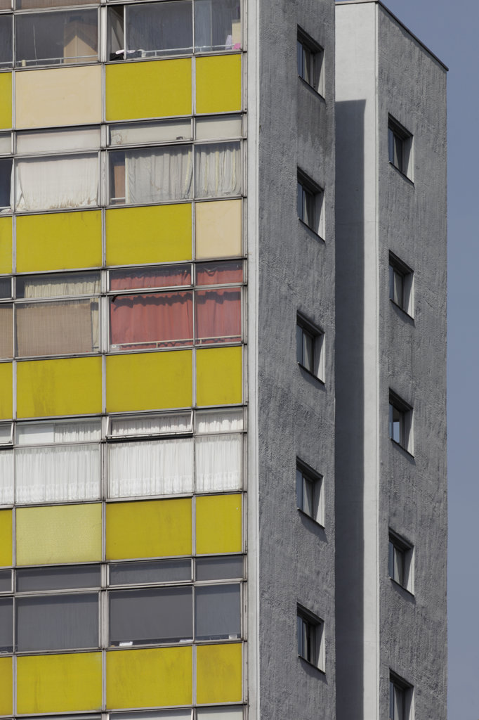 Stock Photo: 1801-36982 Golden Lane Housing Estate, London, United Kingdom, Chamberlin Powell and Bon, Detail of great arthur house seen from goswell road golden lane estate.