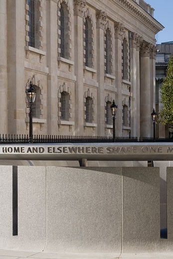St Martins-in-the-fields, London, United Kingdom, Eric Parry, Detail of inscription on the light well. : Stock Photo
