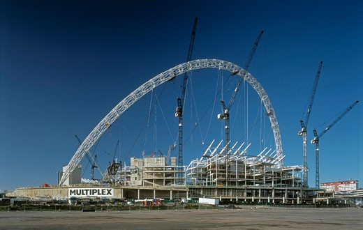 Stock Photo: 1801-37853 Wembley Stadium, London, United Kingdom, Foster and Partners / Hok Sports Venue Event, Wembley stadium view from east showing steel arch.