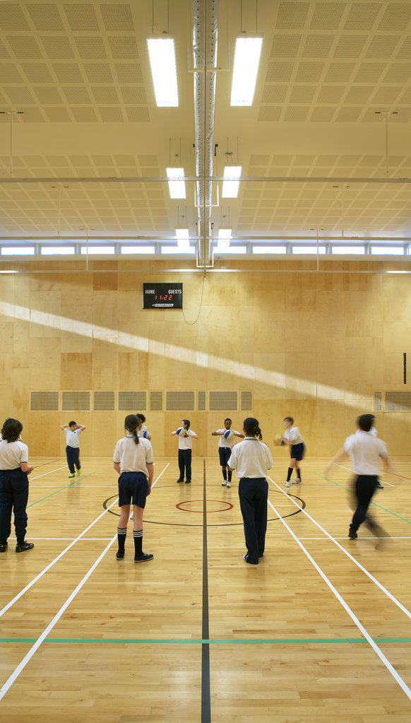 St Mary Magdalene Academy, London, United Kingdom, Feilden Clegg Bradley Architects, St mary magdalene academy gymnasium. : Stock Photo