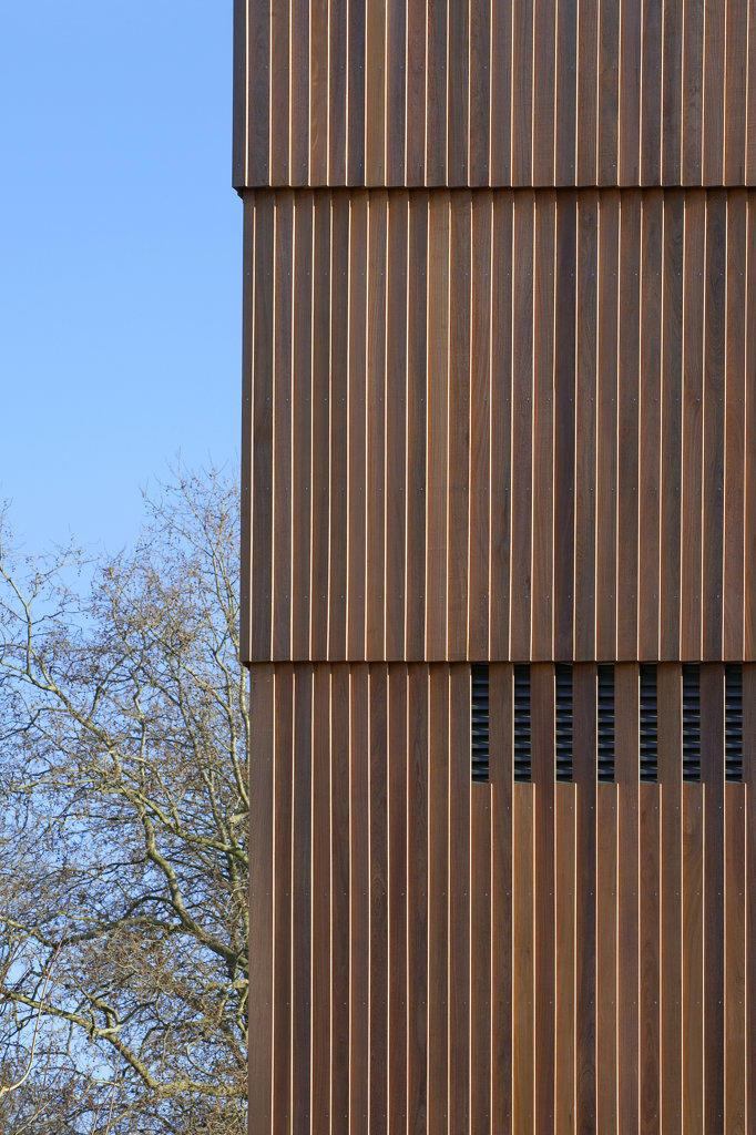 Stock Photo: 1801-38033 St Mary Magdalene Academy, London, United Kingdom, Feilden Clegg Bradley Architects, St mary magdalene academy detail of wooden panelled exterior.