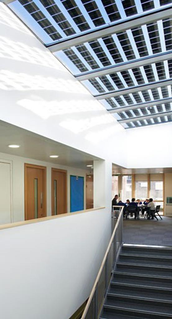 Stock Photo: 1801-38038 St Mary Magdalene Academy, London, United Kingdom, Feilden Clegg Bradley Architects, St mary magdalene academy staircase up to seating area.