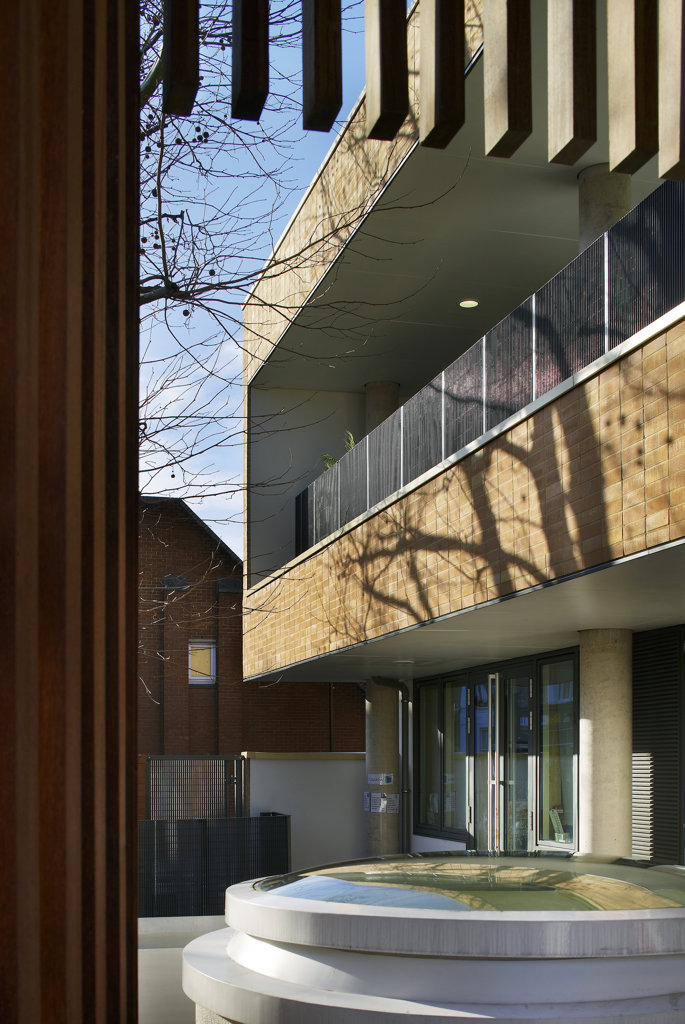 Stock Photo: 1801-38042 St Mary Magdalene Academy, London, United Kingdom, Feilden Clegg Bradley Architects, St mary magdalene academy view of entrance.