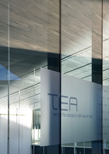 Stock Photo: 1801-39044 Tea Tenerife Espacio De Las Artes, Santa Cruz De Tenerife, Spain, Herzog & De Meuron, Tea tenerife espacio de las artes detail view of the building signage at the entrance.