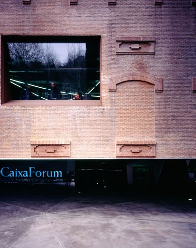 Caixa Forum Madrid, Madrid, Spain, Herzog & De Meuron, Caixa forum madrid front indow and underpass. : Stock Photo