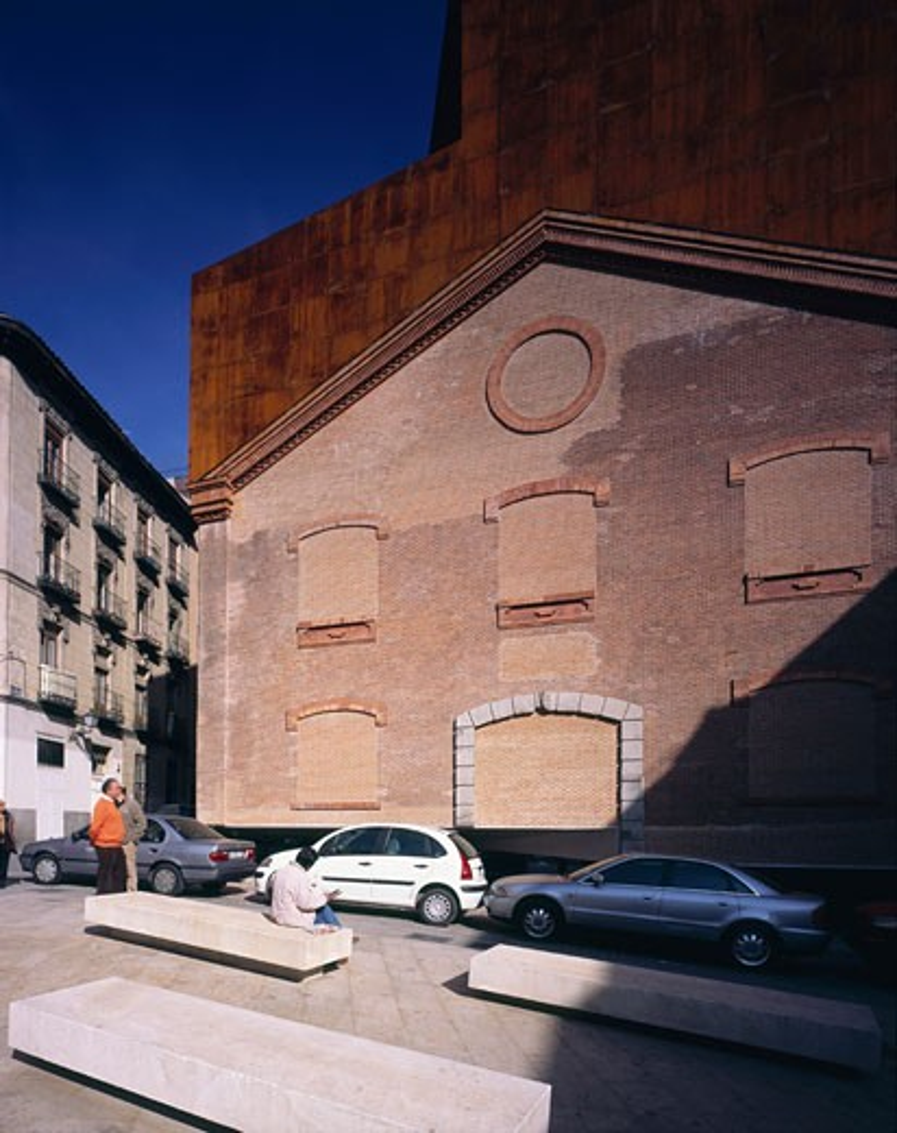 Stock Photo: 1801-39099 Caixa Forum Madrid, Madrid, Spain, Herzog & De Meuron, Caixa forum madrid exterior lateral detail.