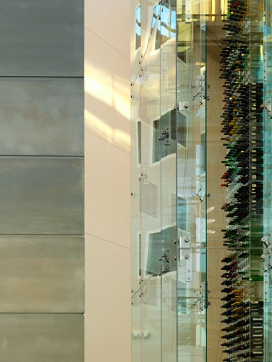 Stock Photo: 1801-3920 RADISSON SAS, STANSTED AIRPORT, STANSTED, ESSEX, UNITED KINGDOM, DETAIL OF RECEPTION WALL AND WINE TOWER, AUKETT FITZROY ROBINSON
