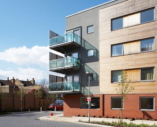 Stock Photo: 1801-39267 Queens Road Eco Project Wandle Housing Association, London, United Kingdom, Has Architects, Queens road eco project wandle housing association ecological sustainable green social housing in south london.