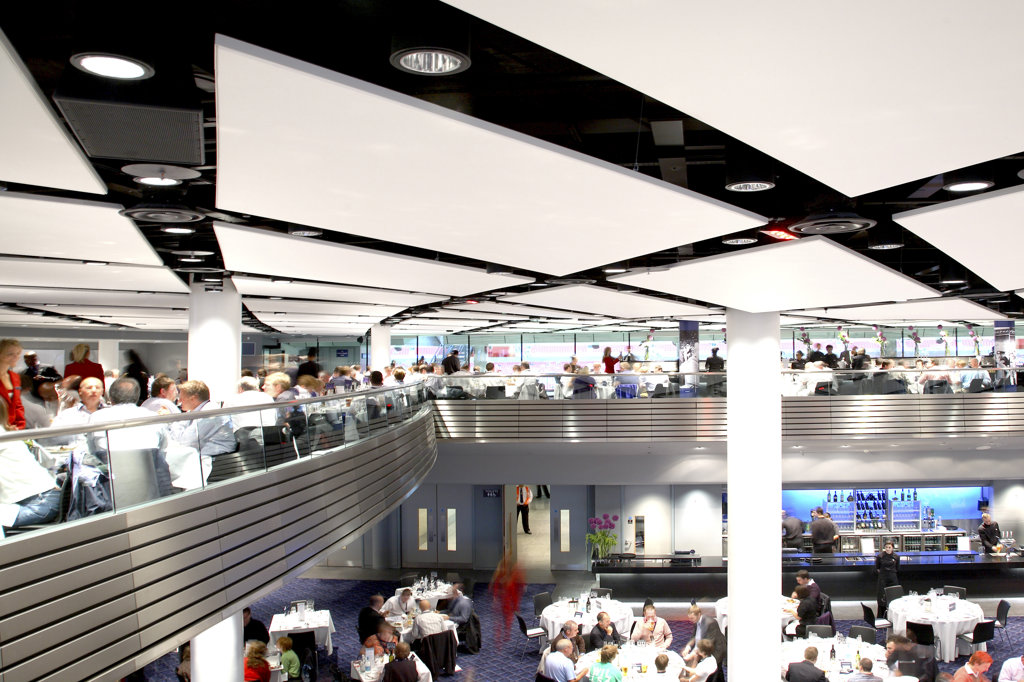 Stock Photo: 1801-39652 Wembley Stadium, London, United Kingdom, Foster and Partners / Hok Sports Venue Event, Wembley stadium hospitality venues other interior spaces and game night.