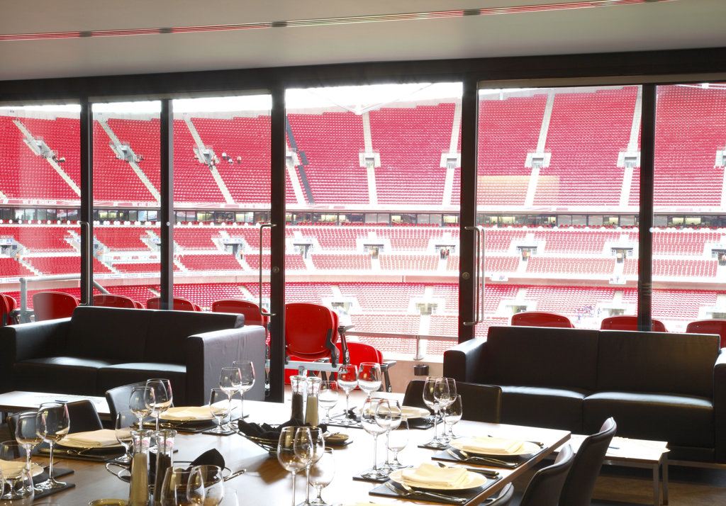 Stock Photo: 1801-39654 Wembley Stadium, London, United Kingdom, Foster and Partners / Hok Sports Venue Event, Wembley stadium hospitality venues other interior spaces and game night.