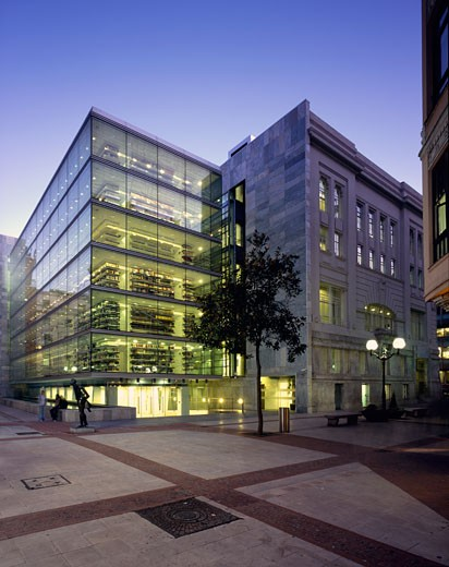 Stock Photo: 1801-39950 Foral Library, Bilbao, Spain, Imb Arquitectos, Foral library evening view.