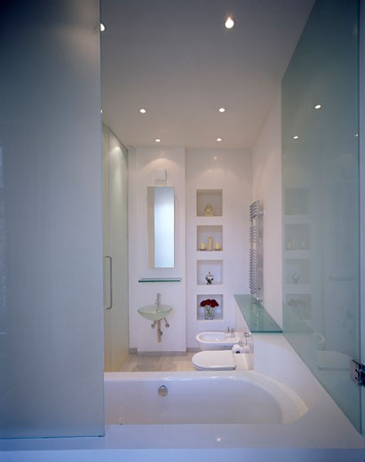 Stock Photo: 1801-40212 Private Flat, London, United Kingdom, John Kerr Associates, Private flat portrait view looking over bath into bathroom.