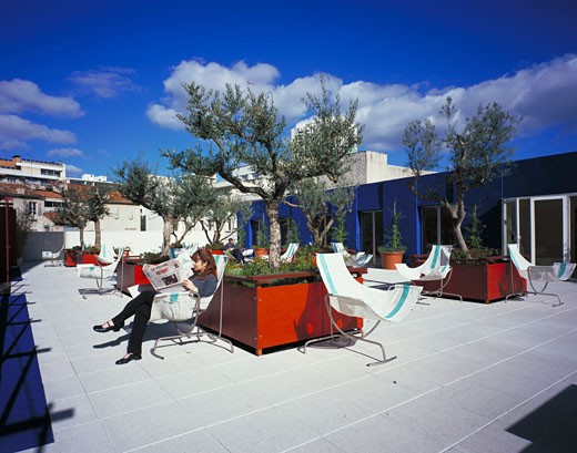 Hotel Prado Mercure Marseille, Marseille, France, Jacques Lefevre, Hotel prado mercure marseille terrace 2. : Stock Photo
