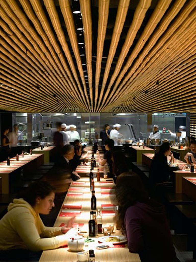 Stock Photo: 1801-40682 Cha Cha Moon, London, United Kingdom, Kengo Kuma & Associates, Cha cha moon restaurant-interior view.