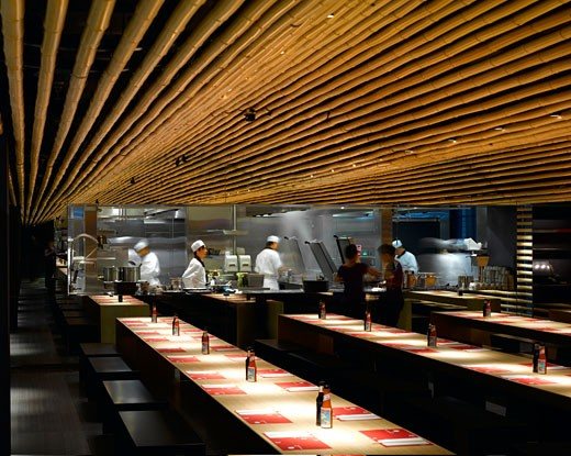 Stock Photo: 1801-40684 Cha Cha Moon, London, United Kingdom, Kengo Kuma & Associates, Cha cha moon restaurant-interior view.