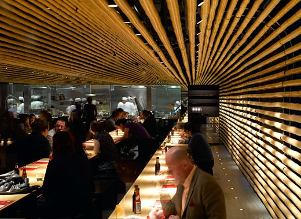 Cha Cha Moon, London, United Kingdom, Kengo Kuma & Associates, Cha cha moon restaurant-interior view. : Stock Photo