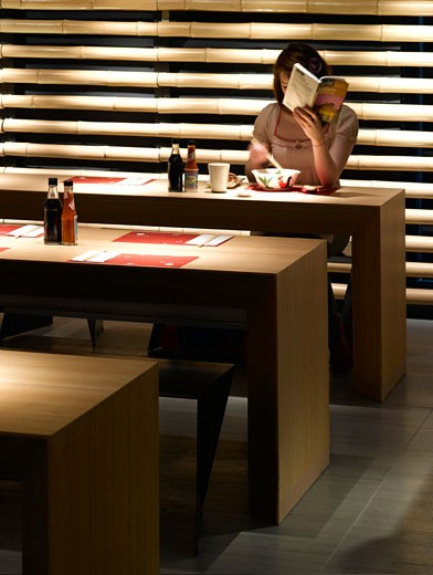 Stock Photo: 1801-40694 Cha Cha Moon, London, United Kingdom, Kengo Kuma & Associates, Cha cha moon restaurant-interior view.