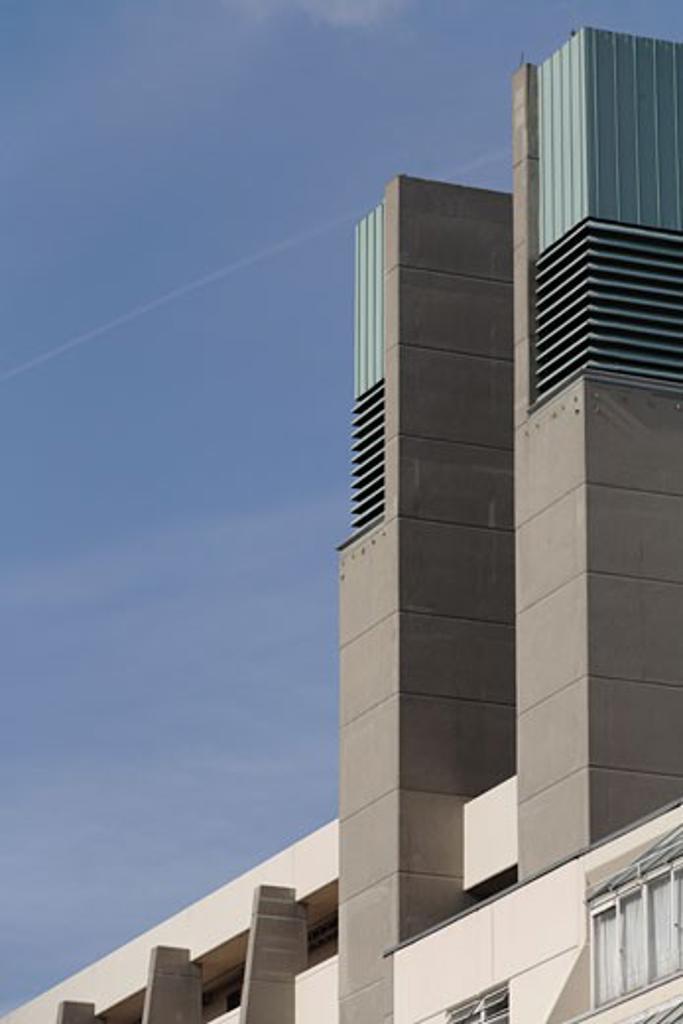 Brunswick Centre, London, United Kingdom, Levitt Bernstein/ Patrick Hodgkinson (1968-72), Brunswick centre towers on west facade. : Stock Photo