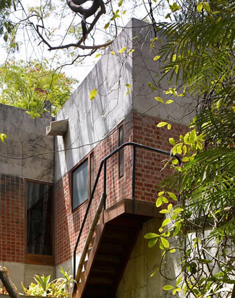 Stock Photo: 1801-41010 Sarabhai House, Ahmedabad, India, Le Corbusier, Sarabhai house- entrance area.