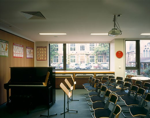 The Rudland Music School - Godolphin and Latymer School, London, United Kingdom, The Manser Practice, The rudland music school godolphin and latymer school class room. : Stock Photo