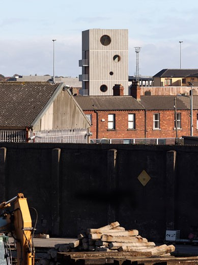 Stock Photo: 1801-42646 Sean O'Casey Community Centre, Dublin, Odonnell and Tuomey, Sean o'casey community centre neighbourhood view.