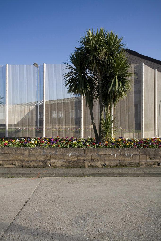 Stock Photo: 1801-42938 High Down Prison, Sutton, United Kingdom, Pick Everard Architects, High down prison prison garden.