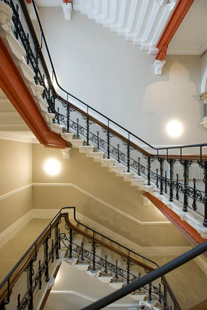 St. Pancras Chambers, London, United Kingdom, Rhwl Architects, St. Pancras chambers stairway in apartment block a?egrant smith 2009. : Stock Photo