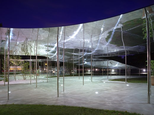 Serpentine Summer Pavilion, London, United Kingdom, Sanaa, Serpentine gallery 2009 summer pavilion at dusk. : Stock Photo